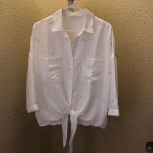 White dandelion button down, ties in front